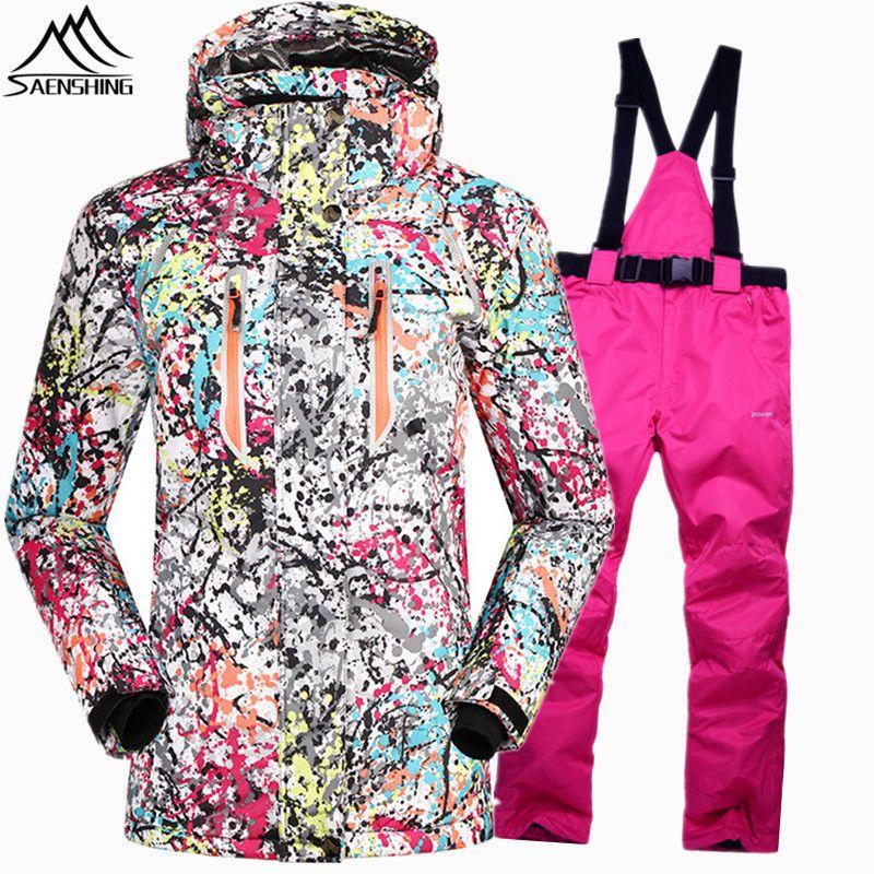 Saenshing Водонепроницаемый 10000 сноуборд костюмы женский лыжный костюм женские очень теплые лыжные зимние куртки для девочек сноуборд брюки Сн...