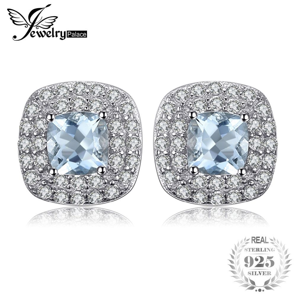 JewelryPalace Cushion Cut 0.9ct Natural Aquamarine Halo Stud Earrings 925 Sterling Silver Earrings For Women Fine Jewelry