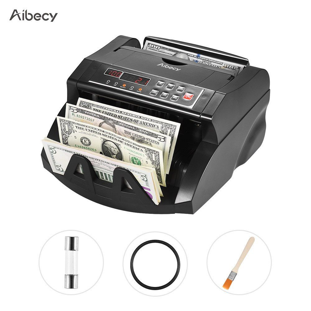 Aibecy Multi-Currency Banknote Counter Cash Money Bill Automatic Counting Machine IR/DD LCD Display for US Dollar Euro AUD HKD