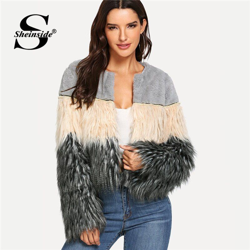 Sheinside Colorblock Faux Fur Crop Teddy Coat Elegant O Neck Tops 2018 New Autumn Winter Workwear Casual Office Ladies Outerwear