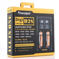 100% Original NOKOSER D2S Digicharger LCD Intelligent Circuitry Global Insurance Li-ion 18650 14500 16340 26650 Battery Charger
