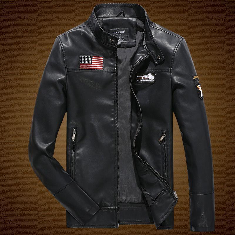 Otoño/Invierno de los hombres chaqueta de cuero pu cremallera collar de cuero ocasional Chaquetas águila Bordado ee.uu. ejército piloto chaquetas