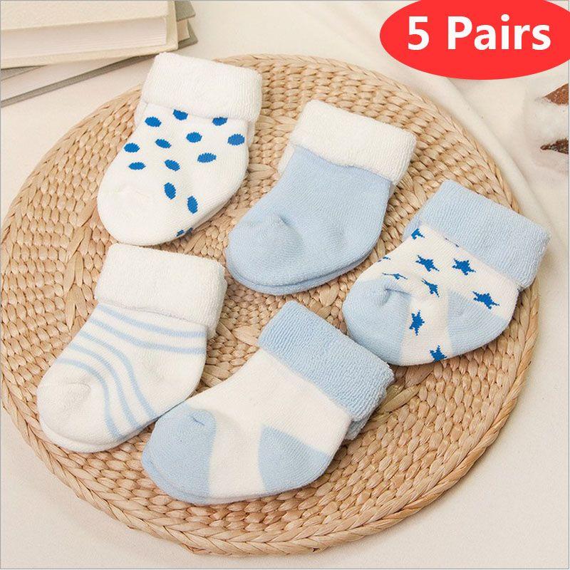 Vivamom 5 paires chaussettes bébé nouveau-nés hiver coton épaississement unisexe chaussettes courtes 0-6 mois chaussettes bébé fille et garçon