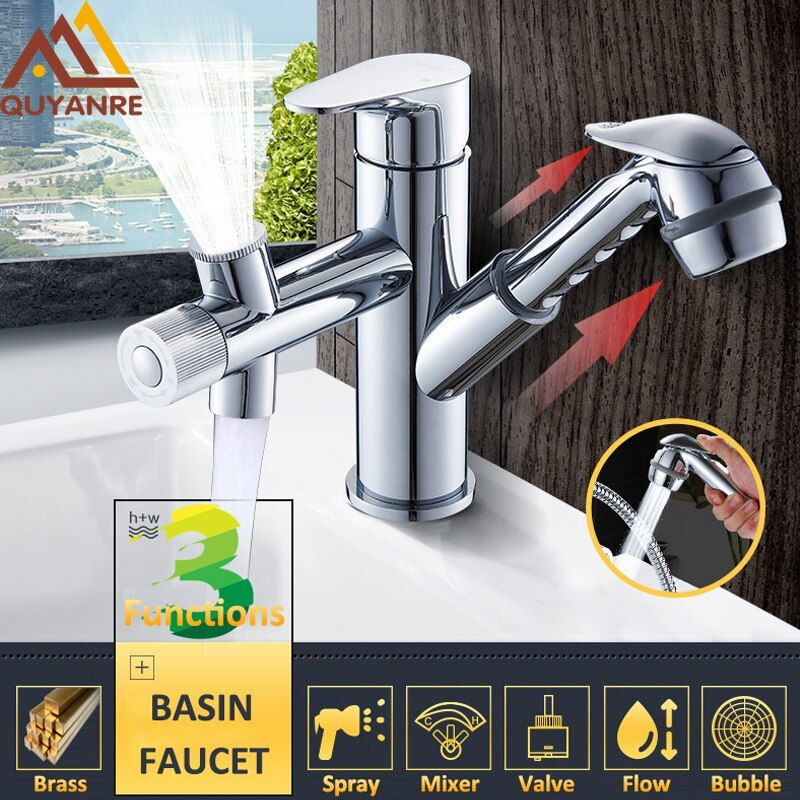 Quyanre Pull-out Sprayer Basin Sink Faucet Chrome Kitchen Faucet With Spray Gargle Washing Hair Spout Mixer Tap Bathroom Faucets