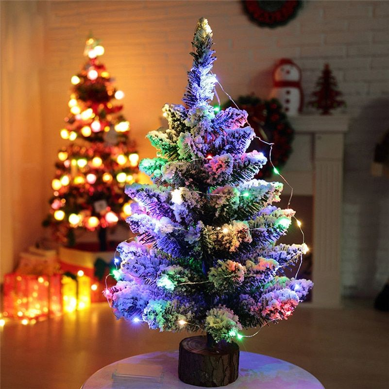 1pc Artificial Flocking Snow Christmas Tree LED Multicolor Lights Holiday Window Decorations 2017 wholesale free shipping A10
