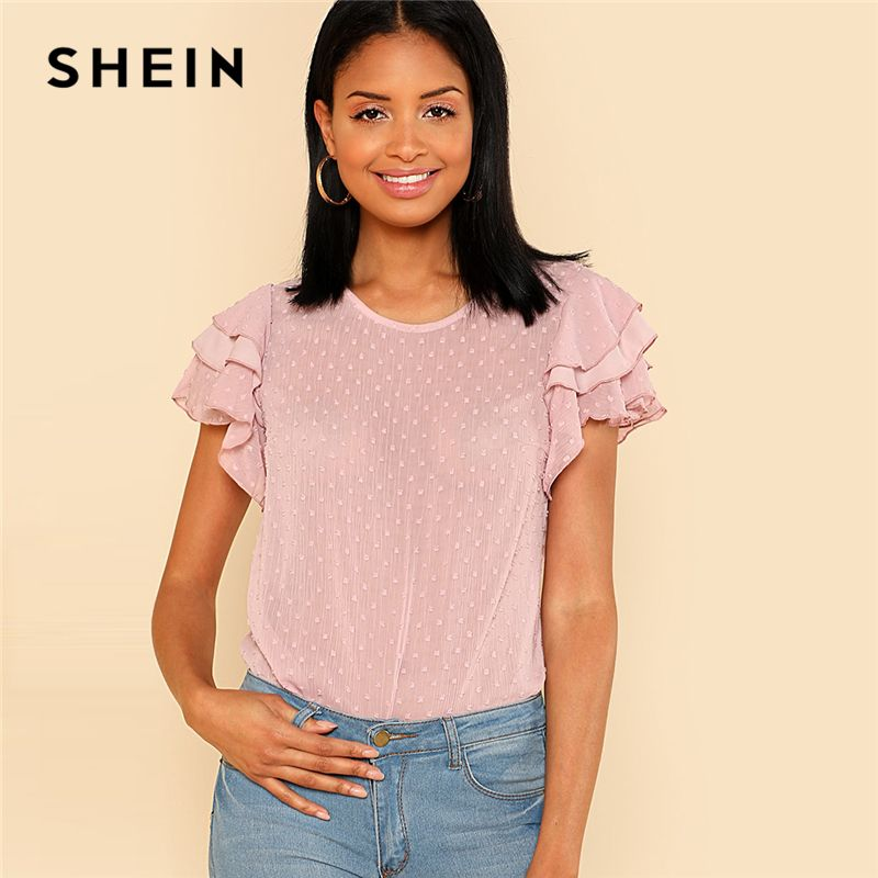 SHEIN Layered Ruffle Sleeve Keyhole Back Top Polka Dot Summer Blouses for Women 2018 Fashion Pink Round Neck Regular Fit Top