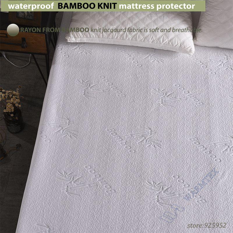 Водонепроницаемый Bamboo вязать жаккардовые Матрас протектор жаккардовая ткань матраса 100% Водонепроницаемый w014 с бамбук cool волокна в