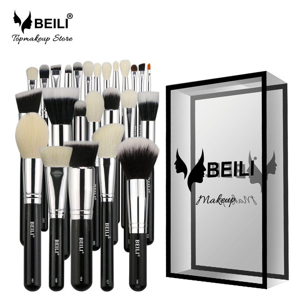 BEILI Complete Professional 25 pcs Foundation Synthetic hair Powder Concealer Goat hair Eye shadow Blending Makeup Brush set