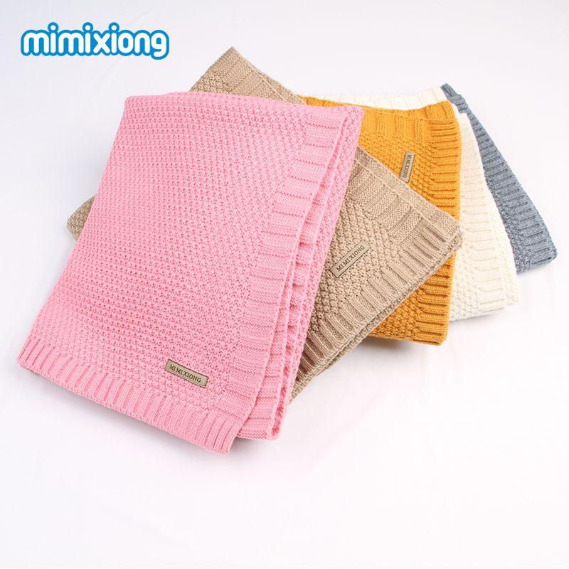 Newborn Baby Swaddle Wrap Blanket Winter Warm Knitted Child Boys Cellular Throwing Blankets Fall Crochet Muslin Blanket Toddler
