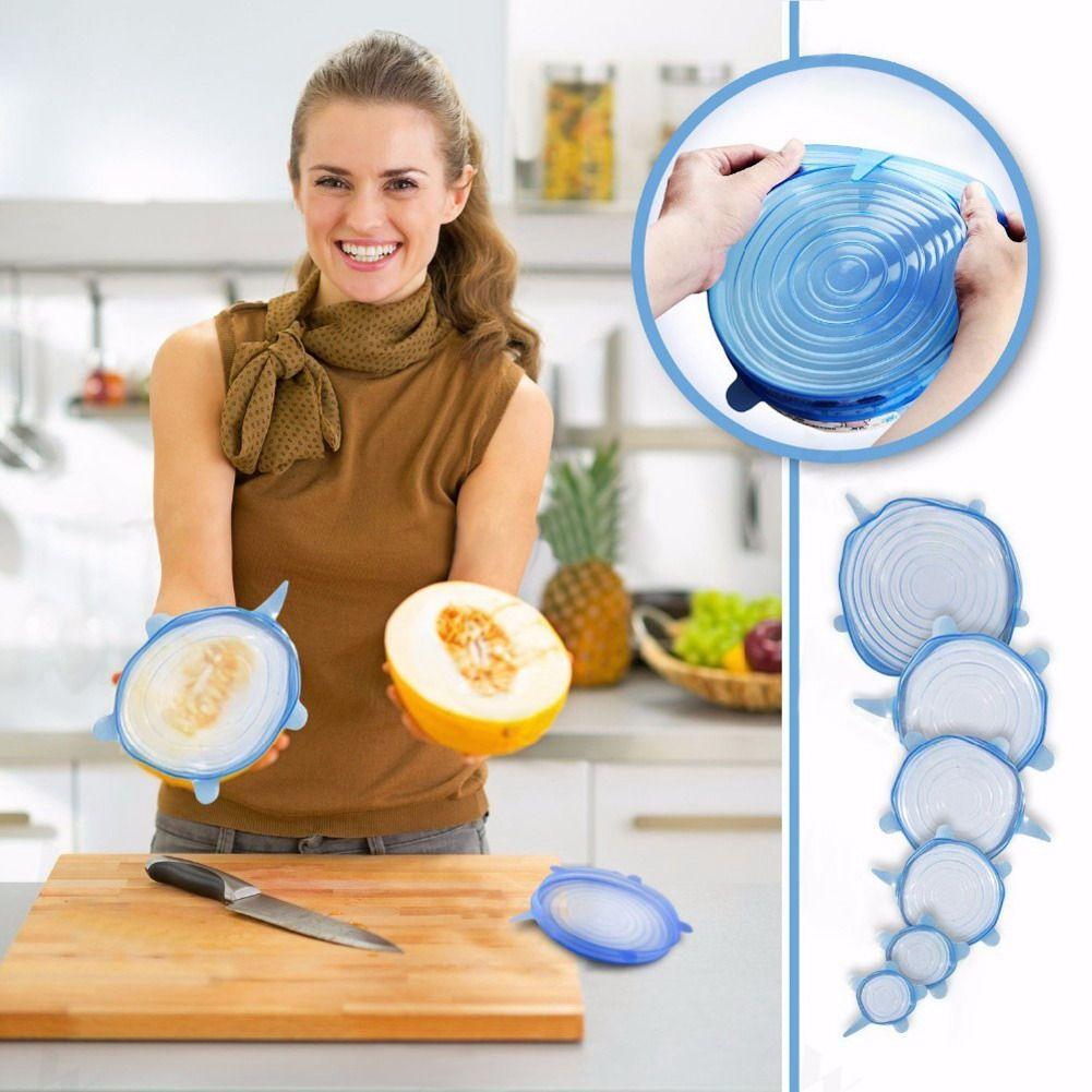 6 stücke Lebensmittel Wraps Reusable Silikon Lebensmittel Frisch Halten Versiegelt Abdeckungen Silikon Dichtung Vakuum Stretch Deckel Saran Wraps Organisation