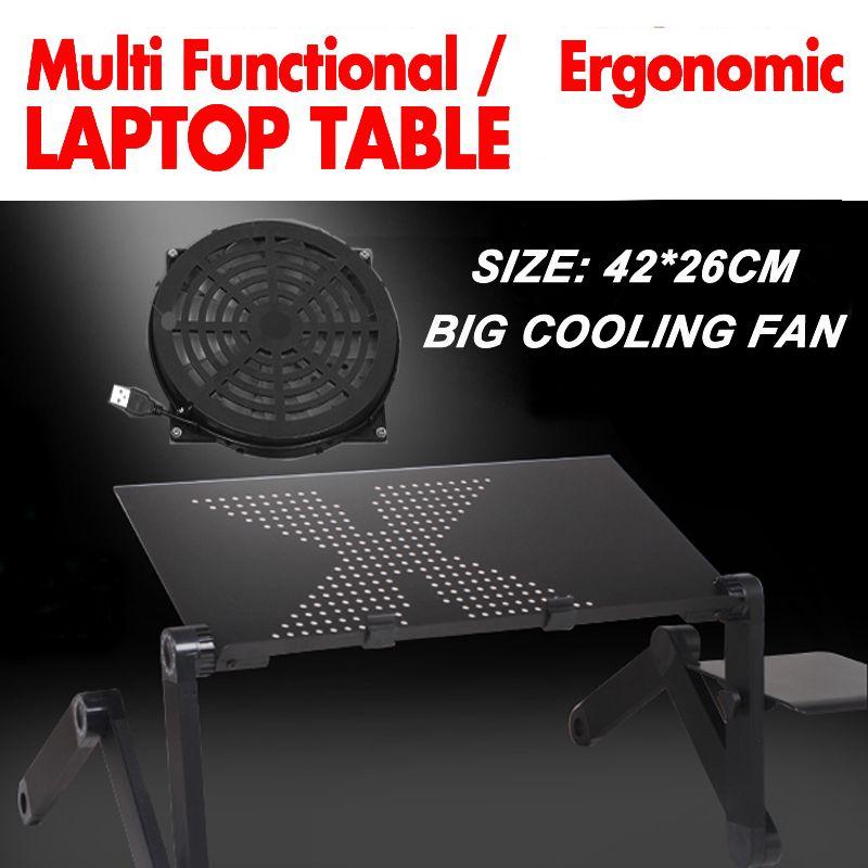 360 roulant mesa suporte para notebook stand pour lit pliant portable table d'ordinateur portable pour lit avec grand ventilateur de refroidissement et tapis de souris
