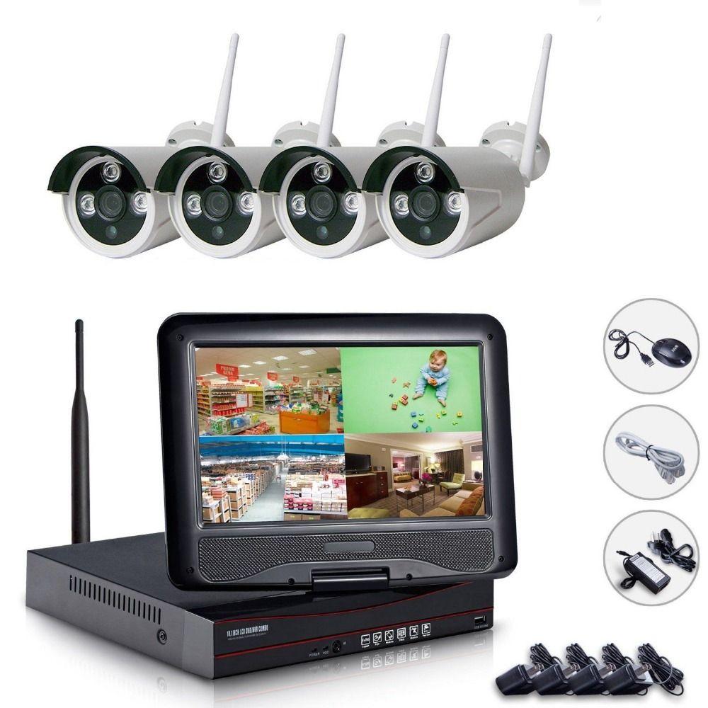 Plug & Play 4CH Drahtlose Kamera Überwachungssystem 10,1