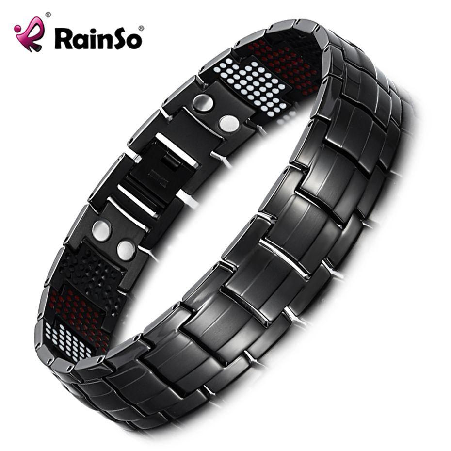 Rainso Unique Mens <font><b>Health</b></font> Bracelet Multi Row 4 Elements Therapy Bracelet Charm Black Titanium Bangles 8 OTB-1537BK-1