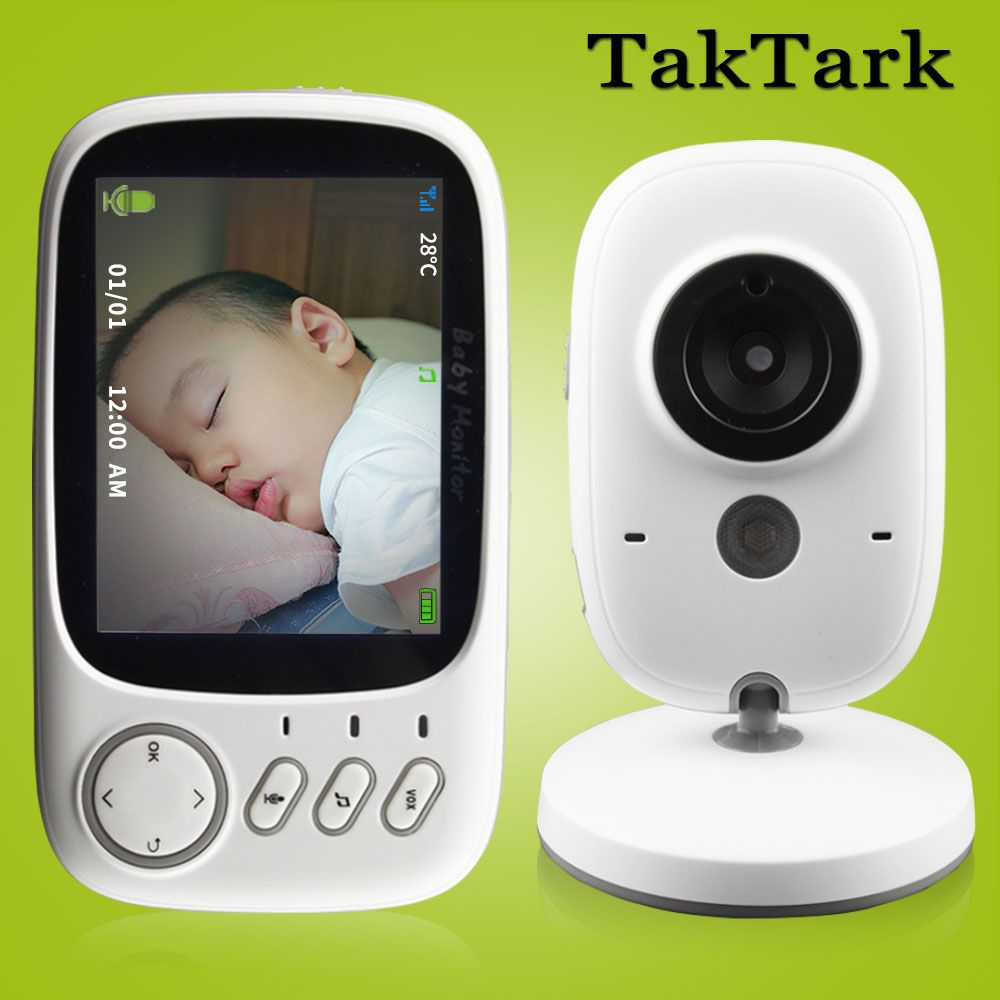 3.2 inch Wireless Video Color Baby Monitor High Resolution Baby Nanny Security Camera Night Vision <font><b>Temperature</b></font> Monitoring