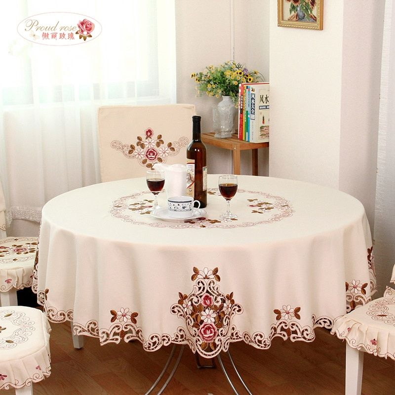 Proud Rose Elegant Round Table Cloth Fashion Embroidery Fabric Art Tablecloth Modern Rural Style Round Tablecloth free shipping