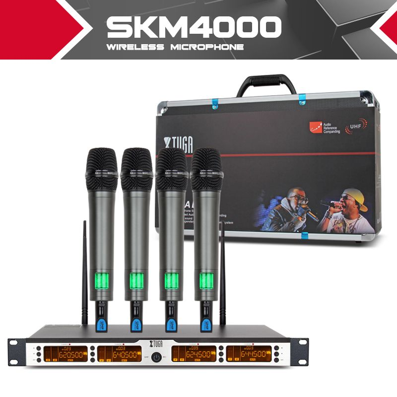 XTUGA SKM400 top quality 400 Channel Wireless Microphones System UHF Party Stage handheld bodypack collar mic headset lavalier