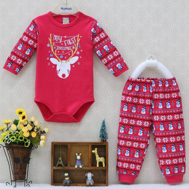 Little Q Baby One Piece Bodysuits and Long Pants Clothing set Christmas Newborn Clothes Boys 2 pcs/lot Spring autumn costume