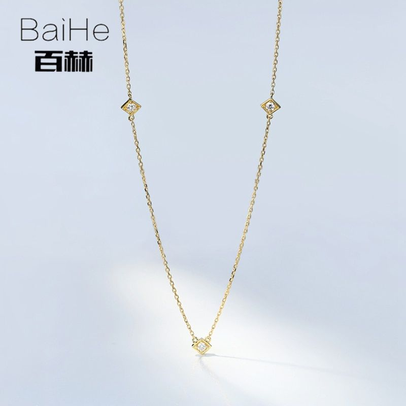 BAIHE Solid 18K Yellow Gold 0.09CT Certified H/SI Genuine Natural Diamonds Round cut Women Trendy Fine Jewelry Elegant Necklaces