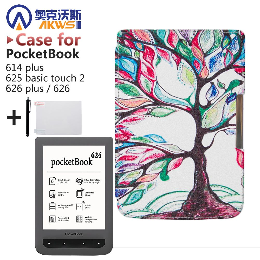 For Pocketbook 614 plus,625 basic touch 2,626/626 plus ereader Protective Smart PU Leather Cove Case Skin + gift