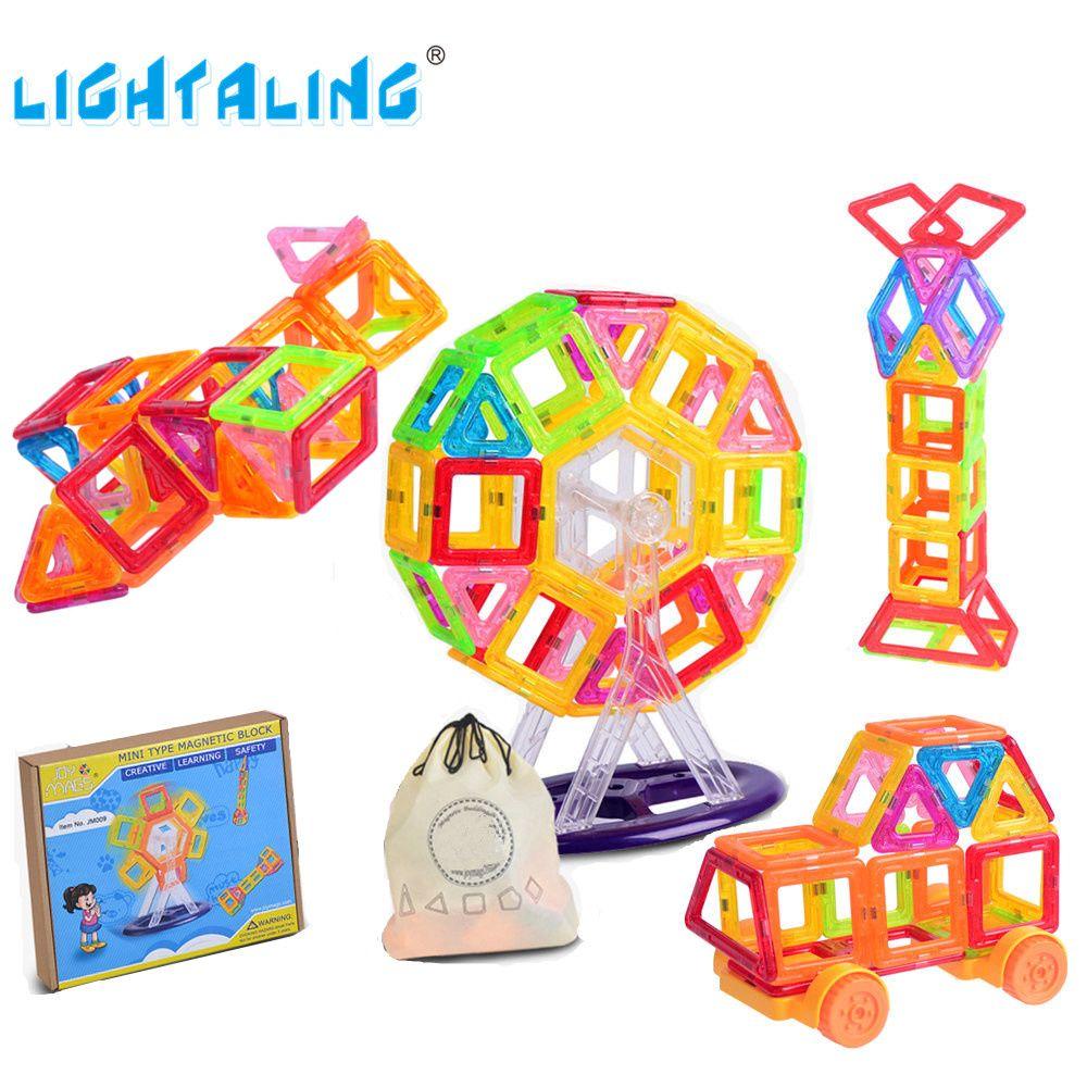 Lightaling мини Размеры Магнитный конструктор 80/90/110/130 шт. Building Block с 1 карман развивающие игрушки малыш день рождения Рождественский подарок