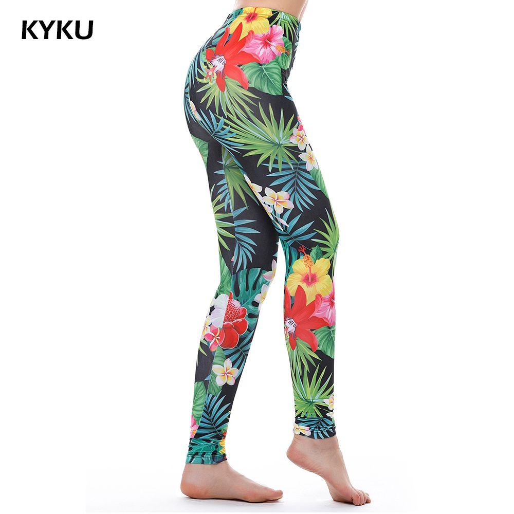 KYKU marque vert mauvaises herbes Leggings femmes feuilles tropicales Legins femmes Leggings impression Fitness Legging Sexy été 3d mode argent