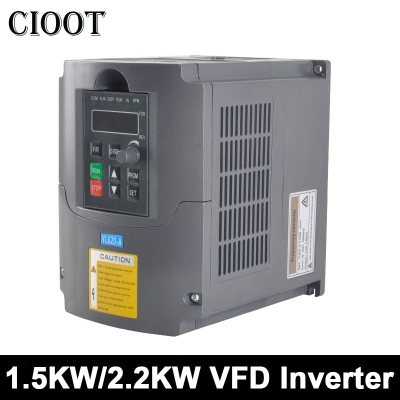 2.2KW/1.5KW VFD Variable Frequency Drive AC/DC Frequency Converter 110V /220V Spindle Inverter For CNC Engraving Milling Machine