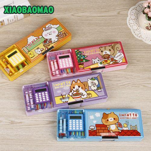 Boîte à crayons multifonction de style dessin animé pour enfants à Double ouverture avec calculatrice + calculer les perles porte-crayon cadeau de papeterie