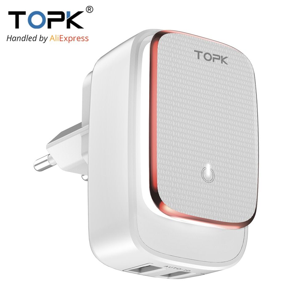 TOPK L-Power 2-Port 5V 2.4A EU&US LED Lamp USB Charger Adapter Auto-ID Portable Travel Wall Phone Charger for iPhone Xiaomi