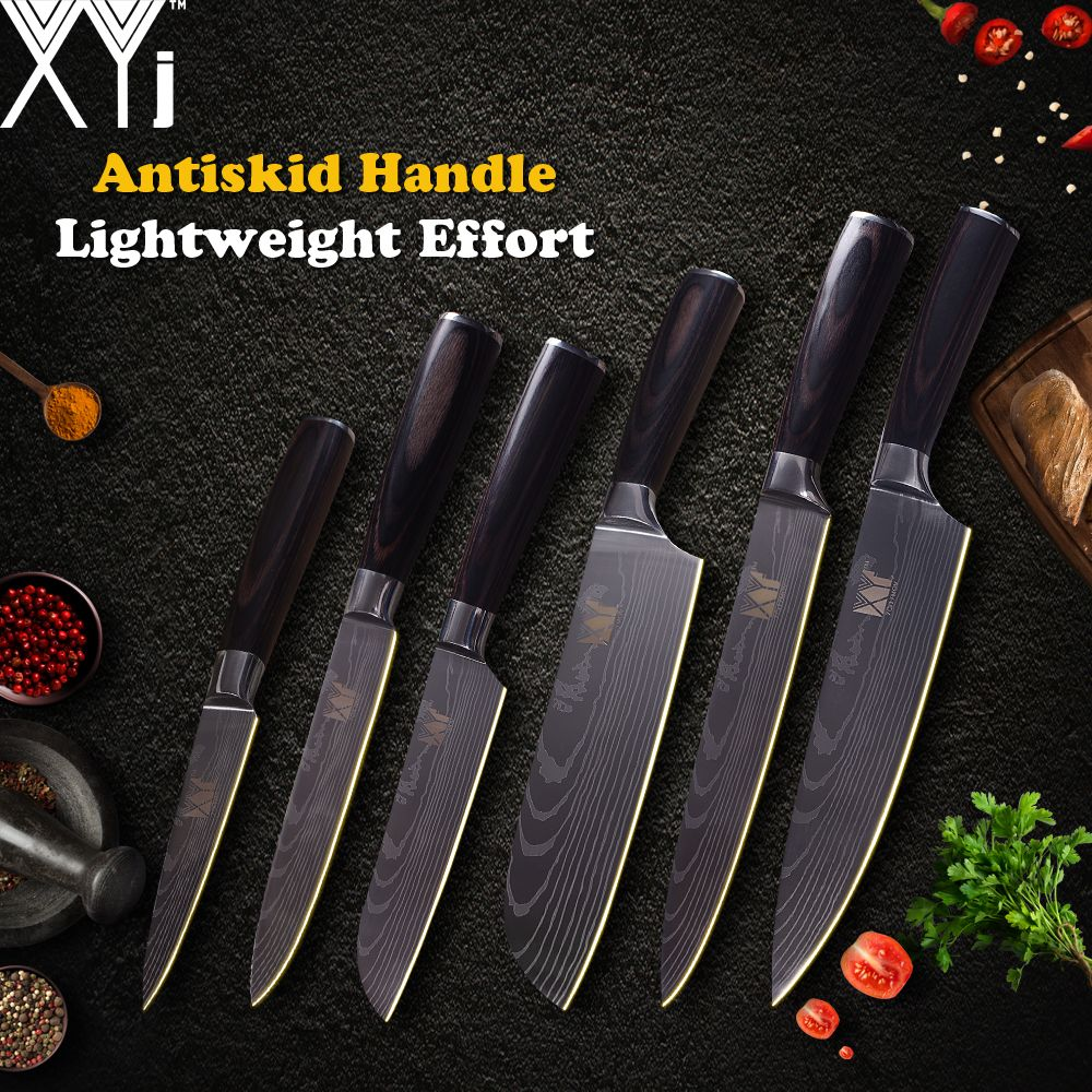 XYj Kitchen Cooking Knives Stainless Steel Knife 3.5, 5, 5, 7, 8, 8 inch Japanese Chef Knife Fruit Vegetable Meat Cooking Tools