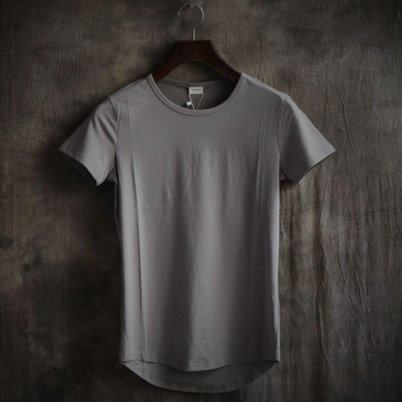2018 Jeu De Trône Pur Couleur De Mode, cultiver Sa Moralité Est Irrégulière Ourlet Incurvé Col Rond Manches Courtes T-shirt Homme