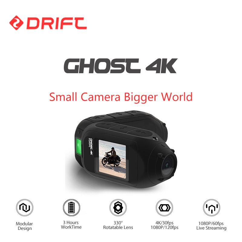 Drift Ghost 4K Action Sports Camera Motorcycle Bicycle Bike Mount Helmet Cam with WiFi Touch LCD Screen Bluetooth Remoter