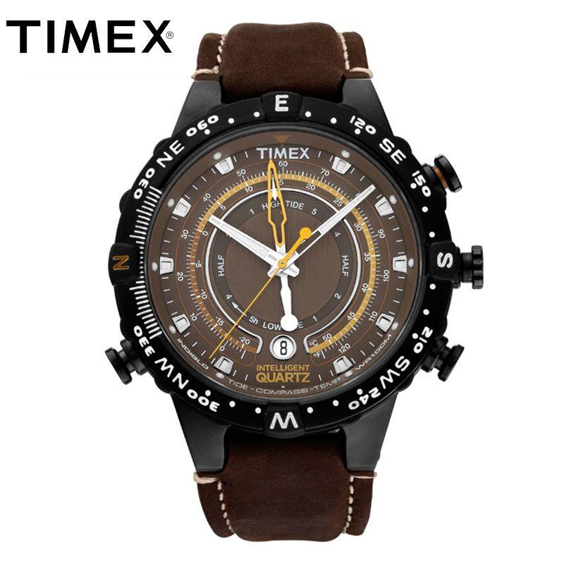 2018 Hot Timex Original Mens T2P141 Intelligent Quartz Luminous Tide Temp Compass Leather Buckle Strap Outdoor Sport Male Watch