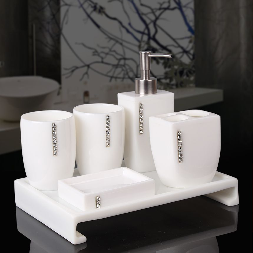 5pcs Resin Elegant Soap Dish Dispenser Shampoo Bottle Toothbrush Holders Box Storage Organizer Bathroom Accessories Set