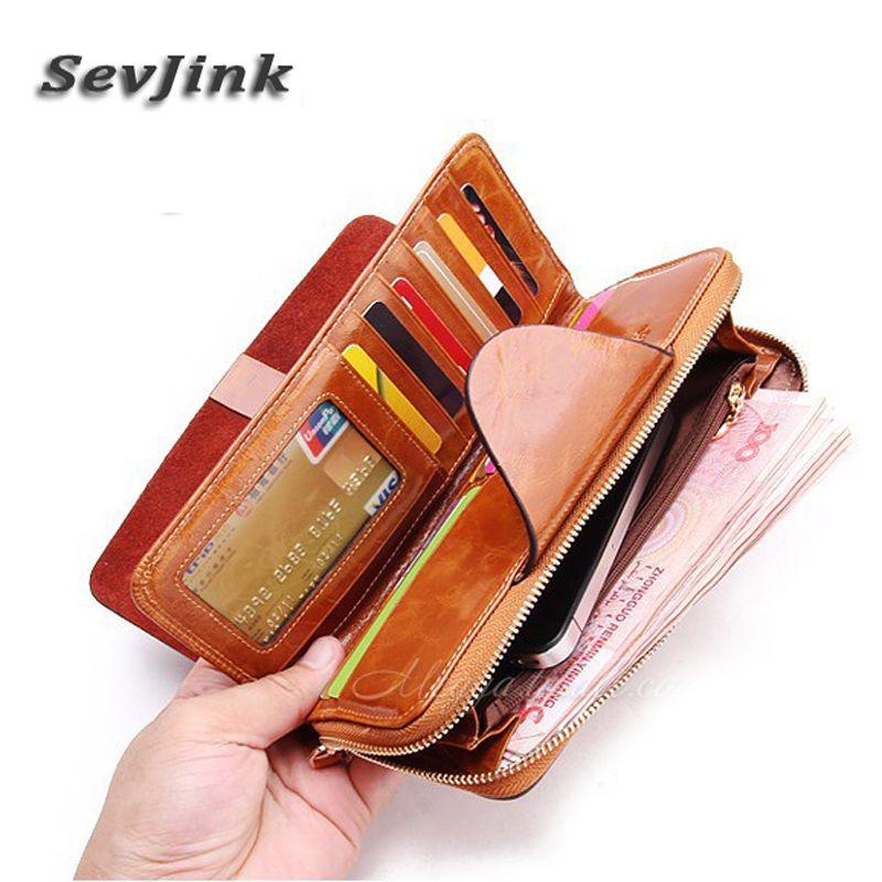 Véritable cuir femmes/hommes portefeuille Vintage RFID blocage portefeuilles voyage sac à main longue fermeture éclair coque de téléphone pour dames
