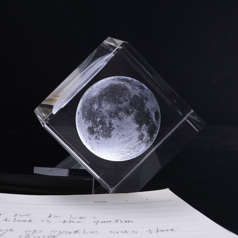 6*6*6CM Crystal Home Decor Ornaments 3D Laser Engrave Moon Model Paperweight Gift Fengshui Crafts Home Decoration Accessories
