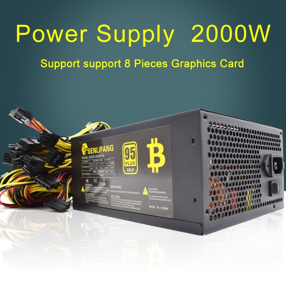 2000W Switching Power Supply 95% High Efficiency for Ethereum S9 S7 L3 Rig Mining 180-260V for bitcoin miner asic bitcoin Mining