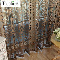 Topfinel Новинки красный и коричневый тюль для окна Тюль для  гостиной современные  Шторы для кухня ,спальни Узорчатый тюль