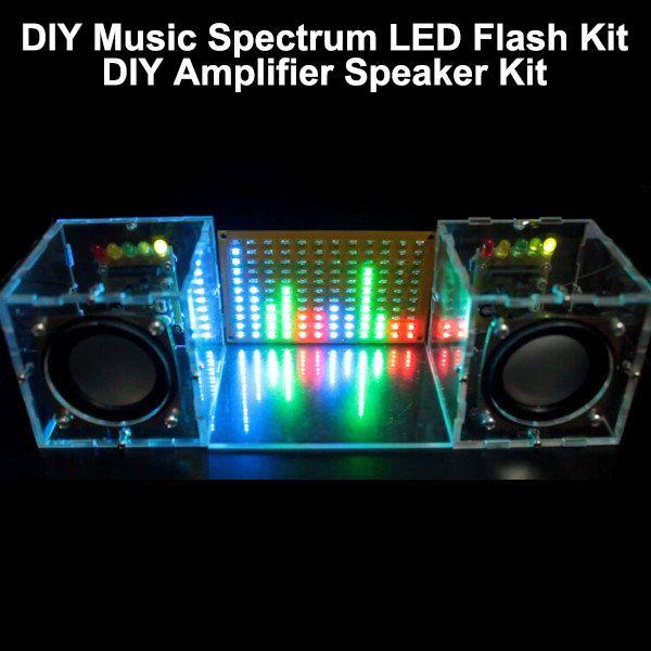 Con Vivienda DIY Espectro de la Música Flash LED Kit + Altavoz Del Amplificador DIY Kit de Acrílico del Envío Libre de caja