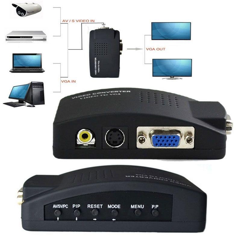Высокое качество AC Адаптеры питания США Plug ТВ RCA Композитный S-Video в AV VGA кабель PC Mac ЖК out конвертер адаптер коробка