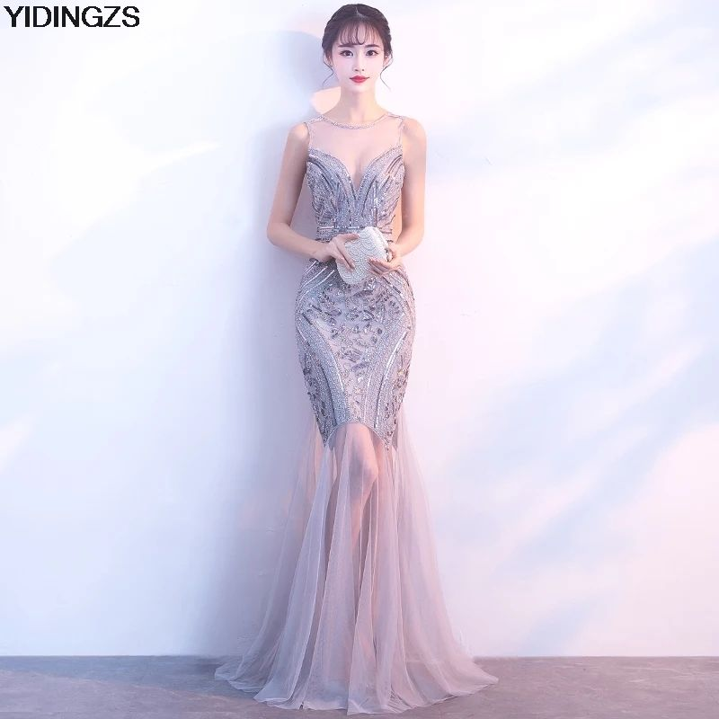 YIDINGZS Sequins Beading Evening Dresses Mermaid Long Formal Prom Party Dress 2018 New <font><b>Style</b></font>