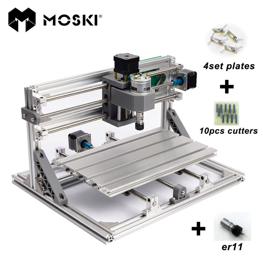 MOSKI, CNC 2418 avec ER11, mini CNC machine de gravure laser, fraiseuse de carte Pcb, Machine de sculpture sur bois, routeur de CNC, CNC 2418, meilleurs cadeaux