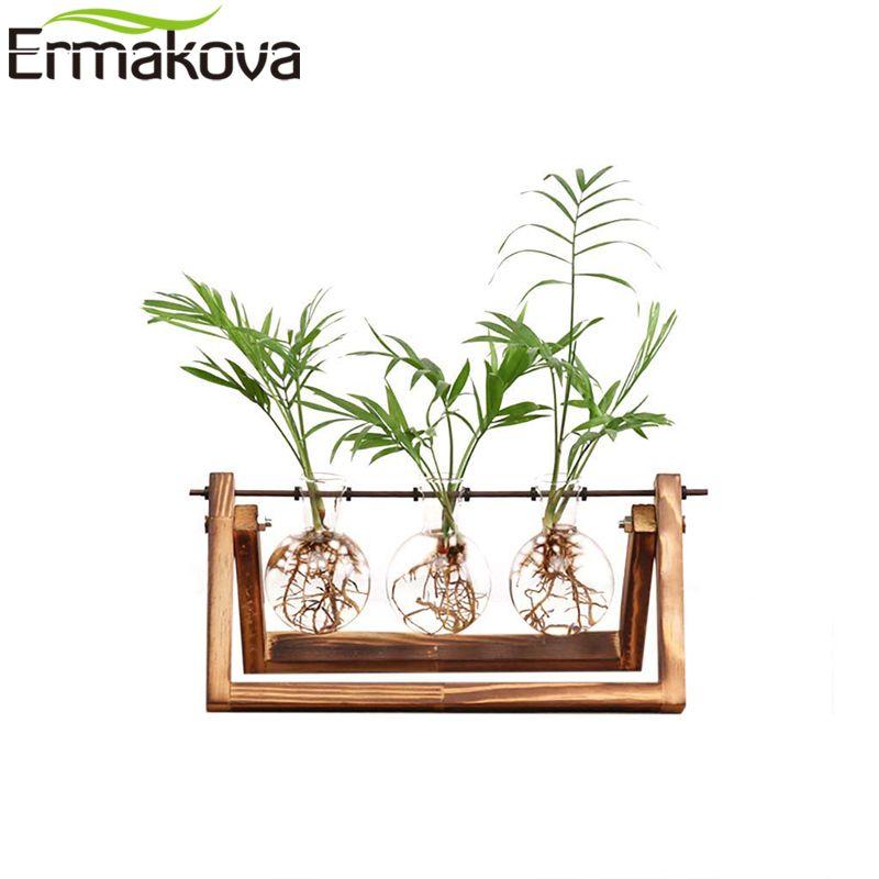 ERMAKOVA Desktop Glas Pflanzer Glühbirne Vase Solide Holz Stand Metall Swivel Halter für Hydrokultur Pflanze Home Hochzeit Dekoration