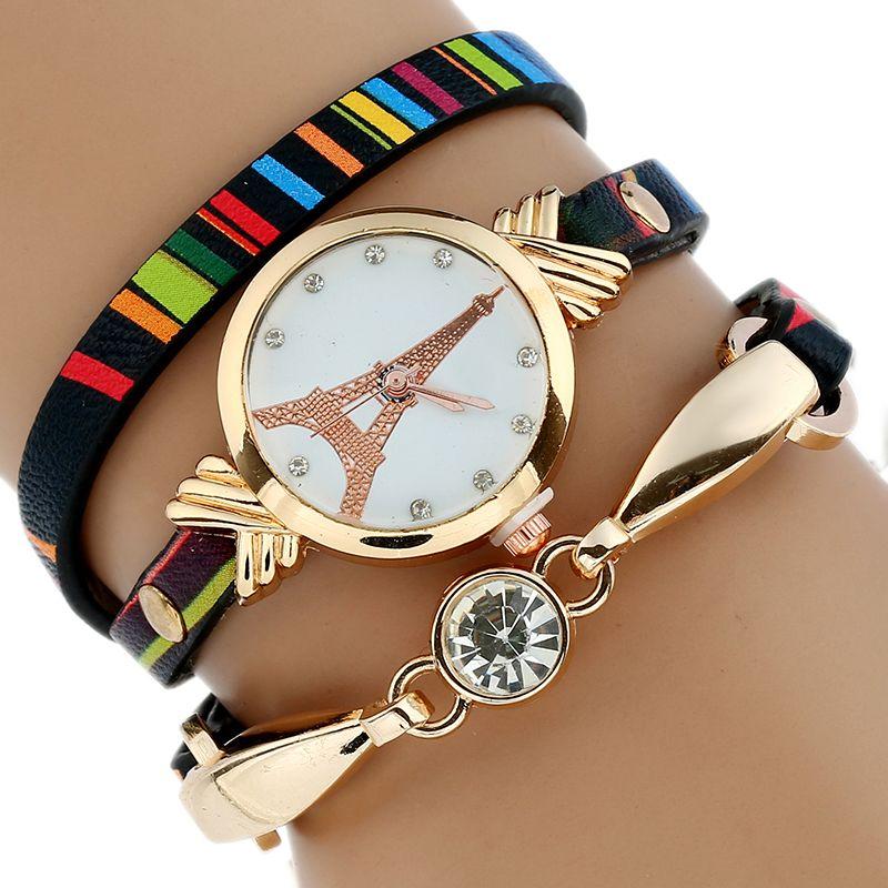 Women's Gold Watch Duoya Brand Fashion Black White Leather Bracelet Quartz WristWatch Women Ladies Dress