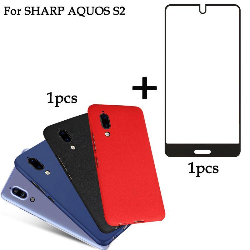 1 STÜCKE Für Sharp Aquos S2 vollbild schutz ausgeglichenes + 1 STÜCKE fall Abdeckung Soft Fall Für Sharp Aquos S2 S 2