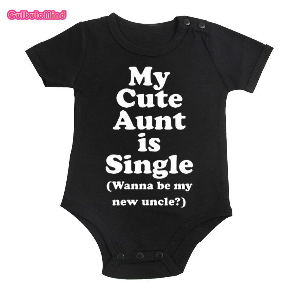 Culbutomind хлопок милые моя тетя детская одежда с короткими рукавами цельный черный Боди Обувь для мальчиков и Обувь для девочек 0-12 м младенец ...
