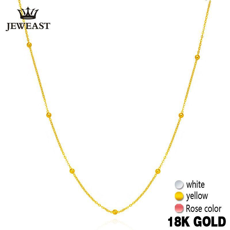 18 karat Reinem Gold Halskette Weiß Gelb Rose Kette Perlen Für Frauen Mädchen Geschenk Edlen Schmuck Neue Heiße Verkauf Gehobenen top Gute Nizza Wie