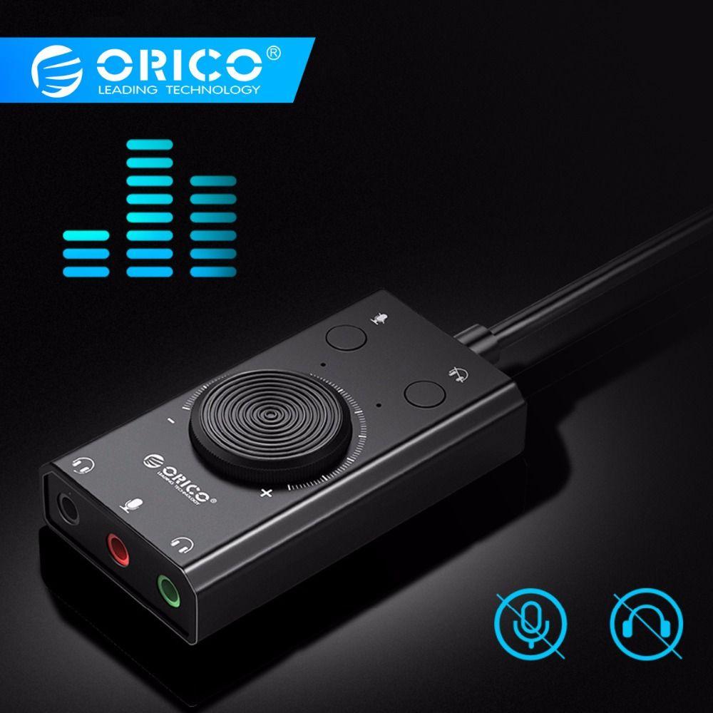 ORICO Portable USB Externe carte son casque microphone Deux-en-Un Avec 3-Port Sortie Volume Réglable Pour Windows /Mac/Linux