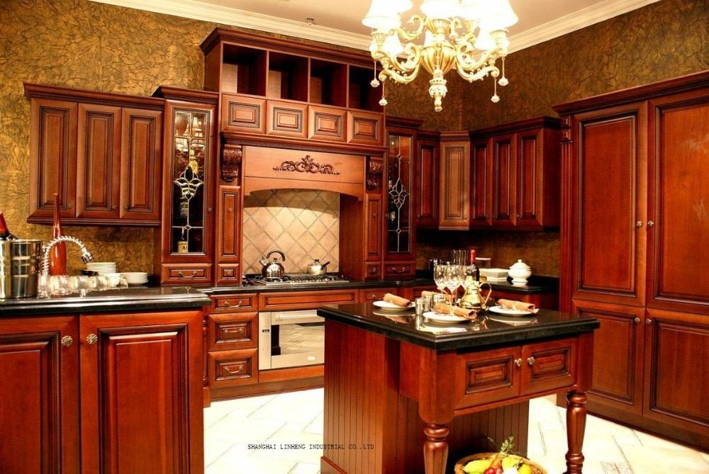 solid wood modular kitchen cabinets(LH-SW086)