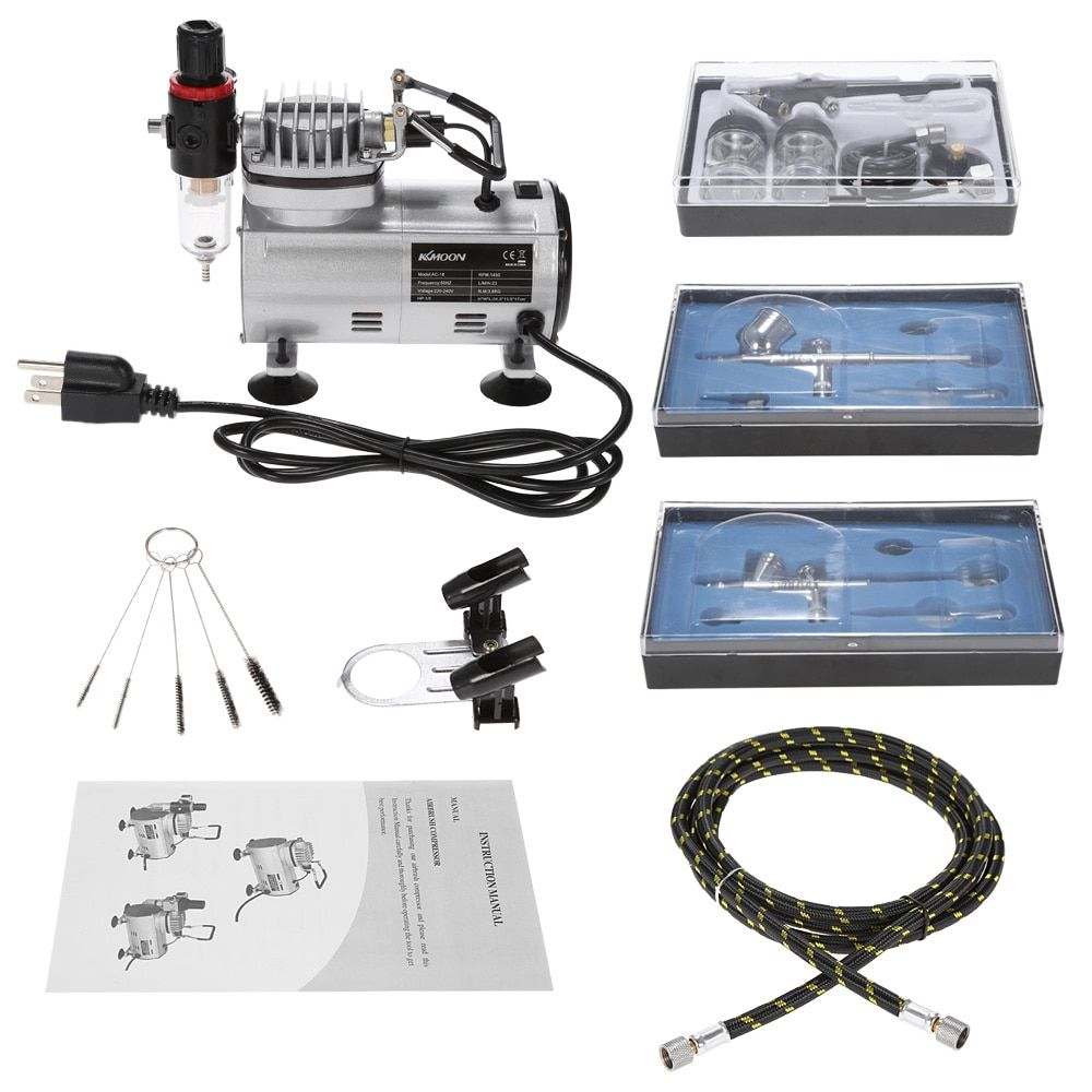 3 pcs Dual-Action Airbrush Kit +Air Compressor paint Spray gun Air-Brush Set sandblaster Tattoo Nail Art Supply w/Cleaning Brush