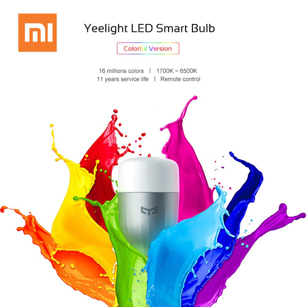 Original Xiaomi Yeelight Colorful LED Smart Bulb E27 9W 600 Lumens Xiomi Mijia Smart Home Phone WiFi Remote Control Light